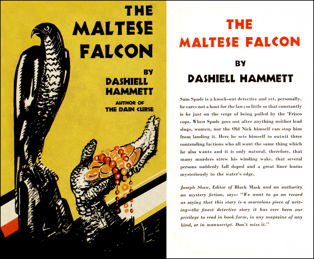 The Maltese Falcon by Dashiell Hammett, Knoph 1930 dustjacket
