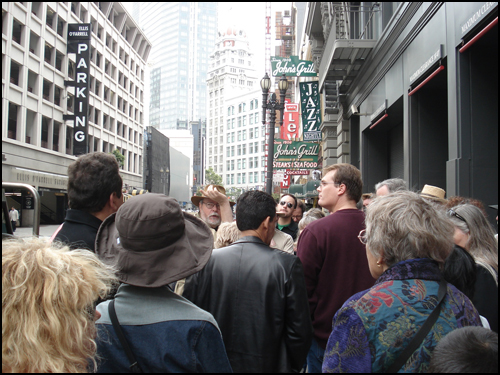 Don and a crowd on the Tour